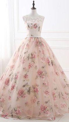 Floral Prom Dresses, Dresses Elegant, Tulle Prom Dress, Vintage Dresses, Dress Wedding, Floral Gown, Casual Dresses, Party Dress, Vintage Prom
