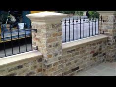 Image result for stone or brick front door steps Front Door Steps, Front Yard Fence, Front Yard Landscaping, Brick Garden, Brick Fence, Garden Gates, Front Wall Design, Townhouse Exterior, Wall Railing