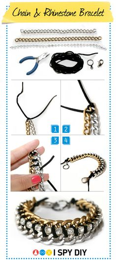 DIY: Chain & Rhinestone bracelet-love mixing the gold & silver chains; and bling makes everything better!