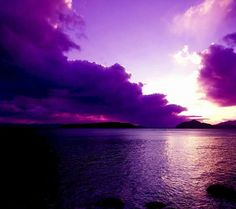 Purple water and sky