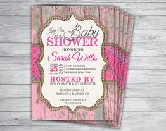 Printed 5x7 Rustic Pink Paisley Barn Wood Burlap Baby Shower Invitations with Envelopes by PrintPros