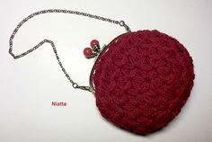 Crochet star stitch clutch, ruby. https://www.facebook.com/NiattasCrochetHandmade