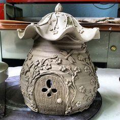 Ceramic Fairy House #fairy #flower #fairies #fairyhouse #ceramicpottery #ceramic…