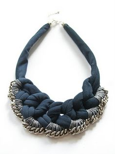Inspiration: Unusual necklace, made in Berlin. Combining fabric, beads and thread.