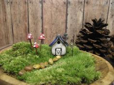 Miniature Raku Fired House with 3 Mushrooms and 1 lantern. fairy terrarium gnome hobbit landscape