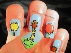 The Lorax by Dr Seuss 25 Insanely Cool Nail Art Designs Inspired By Books Creative Nail Designs, Beautiful Nail Designs, Cute Nail Designs, Creative Nails, Cute Nail Art, Cute Nails, Der Lorax, Book Nail Art, Hair And Nails