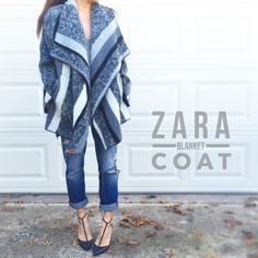 """Open Blanket Coat by Zara This is basically like wrapping yourself up in a wool blankie. Open swingy drapey blanket coat, not lined, 64% wool 36% polyester, 9"""" wide sleeves, pockets. Zara Trafaluc size M. I'm a size 2 and 5'2"""" for reference. 27.5"""" center back length, hard to measure anything else but this fits me as shown (a tad big) and should fit S/M chickies. Worn only for an hour or so, in mint condition. Will come in a ZARA box. *PRICE FIRM UNLESS BUNDLED* Zara Jackets & Coats"""
