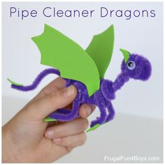 Make dragons out of pipe cleaners. A fun craft that kids will love! #artsandcraftsforboys
