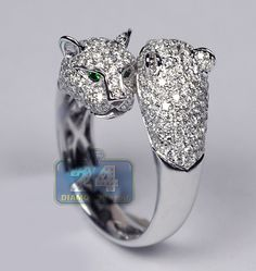 18K White Gold 1.70 ct Diamond Two Heads Womens Panther Ring. Shop now at http://www.24diamonds.com/diamond-rings/