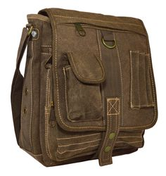 #Mens Multi-Pocket Organizer Crossbody #Messenger Bag - Brown