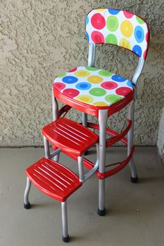 YES!  My kitchen chair/stool!  I think I'd rather do each piece a different color though.  No polka dots.