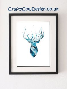 Stag Head Wall Mount Stag Head stag print stag by CraftyCowDesign