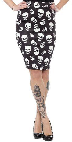 Sourpuss - Lust For Skulls Scuba Skirt