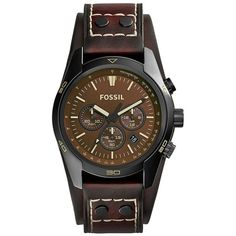 Fossil Black Stainless Steel and Leather Chrono Watch ($145) ❤ liked on Polyvore featuring jewelry, watches, brown, brown watches, wristwatches, brown leather watches and blue dial watches