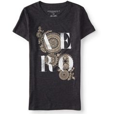 Aero Mandala Graphic T ($9) ❤ liked on Polyvore featuring tops, t-shirts, black, geometric tee, graphic design tees, graphic print tees, slim fit t shirts and aeropostale t shirts