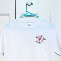 Red Rose Embroidered T-shirt by urbanstitchings on Etsy