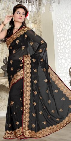 $49.08 Black Faux Georgette Embroidery Saree 23351