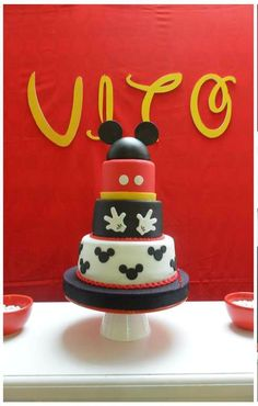 Mickey Mouse birthday party cake! See more party planning ideas at CatchMyParty.com!
