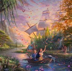 "Disney Art - Thomas Kinkade Studios captures the timeless magic of classic Disney stories and their captivating characters through the style of ""narrative panoramas"". Disney Pocahontas, Disney Pixar, Deco Disney, Disney And Dreamworks, Disney Love, Disney Princess, Images Disney, Disney Pictures, Disney Artwork"