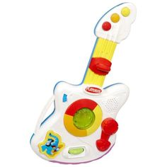 Playskool Rocktivity Jump 'N Jam Guitar Toy. Electronic Jump 'N Jam Guitar toy features music, lights and sounds. Baby can sit and play or stand and jam. Jump 'N Jam Guitar toy comes with instructions. Baby Playroom, Guitar Gifts, Happy 2nd Birthday, Musical Toys, Baby Music, Gross Motor Skills, Christmas Toys, Christmas Presents, Christmas Ideas