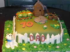 Allen's birthday cake - even got a shed and Cassie pup