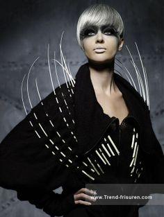 STEVEN CAREY Blonde Kurze weiblich Gerade Komisch Avant Garde Farbige Silber Frauen Haarschnitt Frisuren hairstyles
