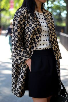 pattern mix, print, preppy colors, palette, navy, black, cream, white, polka dots, flowers, floral ish, skirt, blouse, details, coat repin: Leopard and Dot