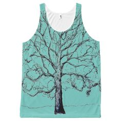 Stately Sketched Tree on Unisex Tank Top All-Over Print Tank Top
