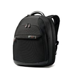 A business backpack is a must to save your back from the inevitable weight of your business-class laptop and its life support system of cables power supplies and so on.  This Samsonite is my current backpack and it holds what I need and  is comfortable to carry.  It also suspends perfectly on my carry-on bag.  The handle on top is particularly strong, solid, and comfortable.  Recommended.