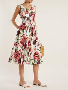 Rose and peony-print cotton poplin dress   Dolce & Gabbana   MATCHESFASHION.COM UK