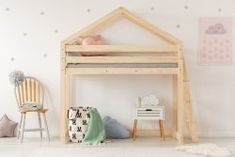 The children's bed with a mezzanine House Beds For Kids, Kid Beds, Mezzanine Bed, House Bunk Bed, Childrens Bunk Beds, High Sleeper Bed, Riga, Bed Sizes, Bed Design