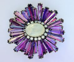 SCHREINER  RUFFLE BROOCH IN THE MOST WONDERFUL SHADE OF VIVID PURPLE! LOVE IT! OWN IT!