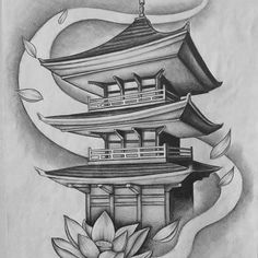 Tower, Tower # Tower- Toà tháp, The tower, # Court - Japanese Temple Tattoo, Japanese Mask Tattoo, Japanese Flower Tattoo, Japanese Tattoo Designs, Japanese Sleeve Tattoos, Koi Tattoo Sleeve, Buddha Tattoo Design, Buddha Tattoos, Body Art Tattoos