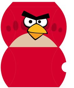 red angry bird face template for sticking onto party bags party