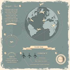 This #vintage world #map infographic template is perfect for travel stats!