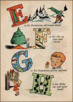 Walt Kelly Christmas Alphabet E-H