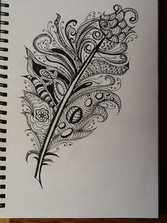 zentangle feather patterns step by step . Zentangle Drawings, Doodles Zentangles, Zentangle Patterns, Art Drawings, Zantangle Art, Tattoo L, Tiny Tattoo, Tattoo Flash, Small Tattoos