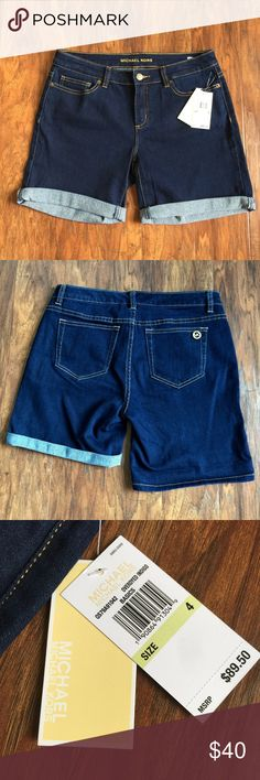 Michael Kors Overdyed Indigo Shorts Size 4 NWT Brand new with tags. Size 4. Hems are rolled but as seen in the photo, you can unroll them. New with tags. 🚫trades Michael Kors Shorts Jean Shorts
