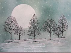Lovely as a Tree: su!,  Lost Lagoon, Island Indigo and Marina Mist , masking , White Stampin Chalk Marker for the snow, Dazzling Diamond Stampin' Glitter: Stamp With Michelle: