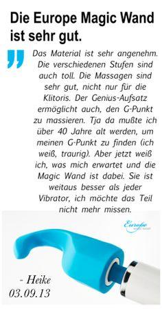 """""""... Das Material ist sehr angenehm. Die verschiedenen Stufen sind auch toll. Die Massagen sind sehr gut, nicht nur für die Klitoris. Der Genius-Aufsatz ermöglicht auch, den G-Punkt zu massieren. Tja da mußte ich über 40 Jahre alt werden, um meinen G-Punkt zu finden ... Sie ist weitaus besser als jeder Vibrator, ich möchte das Teil nicht mehr missen."""" - Heike 01.09.13, German owner of #EuropeMagicWand wand massager. #5outof5 stars @EuropeMagicWand. Get more info at www.europemagicwand.de"""