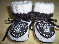 NFL Oakland Raiders Handmade Knit Baby Booties