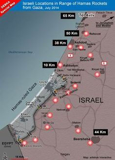 Israeli Locations in Range of Hamas Rockets from Gaza, July 2014