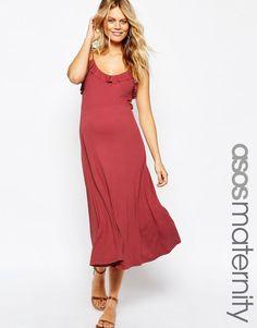 Image 1 ofASOS Maternity Midi Cami Dress With Frill