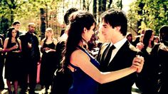 Damon and Elena dancing together at Miss Mystic Falls contest.