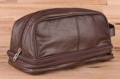 Men's Toiletry Travel Bag Leather Shaving Kit Case Cosmetic Medicine Organizer #SupplyKick