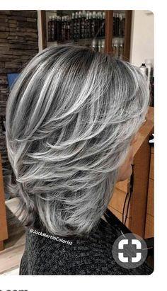 Medium Hair Styles, Curly Hair Styles, Gray Hair Highlights, Long Gray Hair, Grey Hair For Over 60, Pinterest Hair, Cool Hair Color, Hair Lengths, Cool Hairstyles