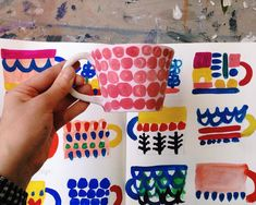 Mugshot ☕️ Painting a new batch of pottery this morning Rachael Cocker Ceramic Cups, Ceramic Pottery, Ceramic Art, Pottery Painting, Ceramic Painting, Painted Ceramics, Paint Your Own Pottery, Ceramic Studio, Art Lessons Elementary