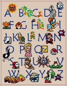 Perfect for the little (or adult!) gamer! Learn the ABCs the fun way with Mario! This pattern includes a DMC color chart, and a black and white symbol pattern, and a symbol over color pattern in an easy to read and printable PDF file. PDF files can be read on Adobe, which the Adobe Reader
