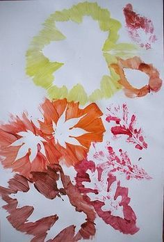 Autumn Leaf Print:  Children could create very unique pieces of art with this activity.  Using leaves that the children collected on a nature walk would make the experience more meaningful.  The children could choose the leaves to use, the paint colors to use, and the placement of the leaves.
