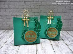 Stampin Up - Stempelset Pop of Paradise - Smaragdgrün - Gold - Gift Bag Punchboard - Stanz- und Falzbrett für Geschenktüten - Verpackung - Embossing - Anleitung ♥ StempelnmitLiebe